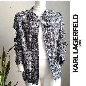 Karl Lagerfeld Tweed Fringe Jacket Black White 8